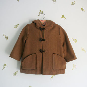 vintage 80s kids jacket / duffle coat / brown wool / fleece / toggles / fall + winter / 4