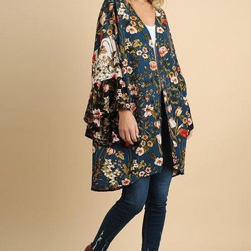 Umgee Long Body Open Floral Print Kimono with Ruffled Bell Sleeves