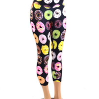 Donut Print High Waist Spandex Capri Leggings