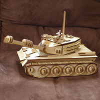 3D Wood Tank Puzzle Kit Engraved Laser Cut