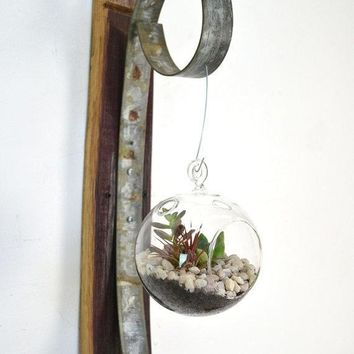 Wall Hanging Terrarium   Round   100% Recycled Wine Barrels