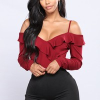 Cold In The Ruff Bodysuit - Burgundy
