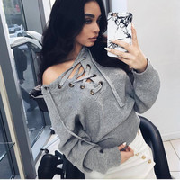 Explosion models fall and winter clothes new knit shirt pullover V-neck women's fashion