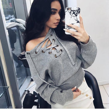 Winter Sexy Strapless Sweater [9252229639]