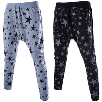 Black Star Print Elastic Waist Drawstring Sweatpants