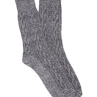 FOREVER 21 Marled Knit Crew Socks Black/Grey One