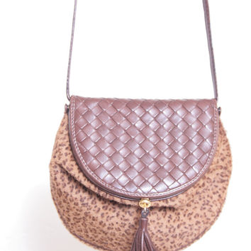 Authentic Bottega Veneta Leopard Pony Hair Brown Woven Leather Purse with Brown Leather Strap