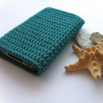 iPhone case Pine Green crochet, iTouch, iPod cover, Samsung Galaxy sleeve, cell phone cozy
