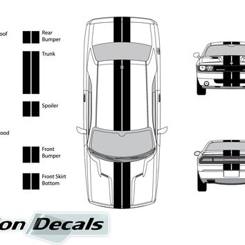 "Dodge Challenger 2009 Dual 8"" Rally Racing Stripes Vinyl Decal Kit"