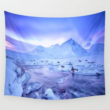 Freezing Mountain Lake Landscape : Blue Wall Tapestry by 2sweet4words Designs