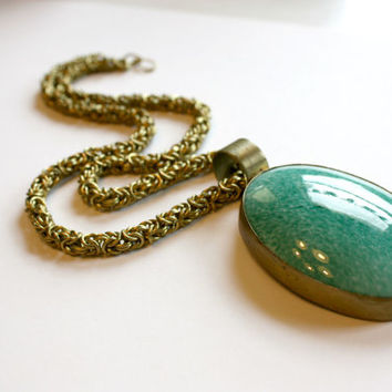 Sea Green Pendant with Brass Chain, Unique Gifts, Fashion Jewelry, Handmade Accessories, Fall Fashion, Fall Gift Ideas, Gift Ideas