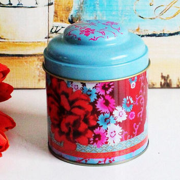 Retro Blue Red Flower Kitchen Coffee Tea Sugar Container Jar Can Tin Metal Home Decor Can