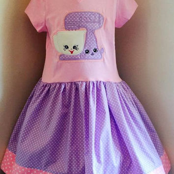 Shopkins Mixie & Maxie Appliqued T Shirt Dress Available from 12m to 14/16