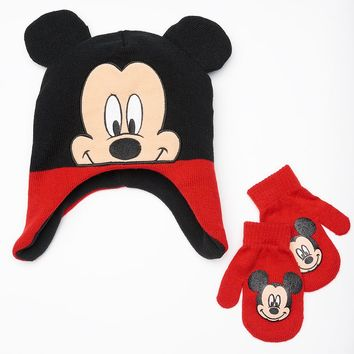 Disney's Mickey Mouse Hat & Mittens Set - Toddler Boy, Size: TODDLER (Grey)