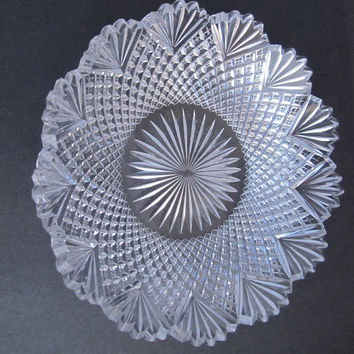American Brilliant Period Cut Glass low bowl strawberry diamond fan Antique crystal