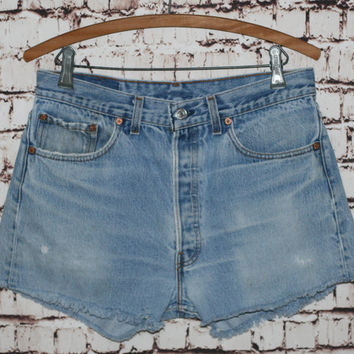 High Waist Denim Shorts Levis 501 cut offs Light Wash Distressed grunge festival boho hipster gypsy 34 32 12 Frayed Fringe Jeans