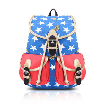 [LIMITED EDITION] WONDER WOMAN STARS BACKPACK with GOLDEN LASSO STRAPS DC Comics