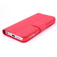 Multifunction Mini Magnetic Adsorption Flip Folio Wallet Stand Case Cover Folding Holder Headphone Bobbin Winder for iPhone 5 5G (Red)