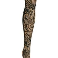 HUE Metallic Geo Printed tights