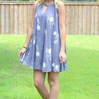 Embroidered in Lace Keyhole Tank Dress {Cool Grey}