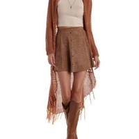 Coral Open Knit Fringe Duster Cardigan Sweater by Charlotte Russe