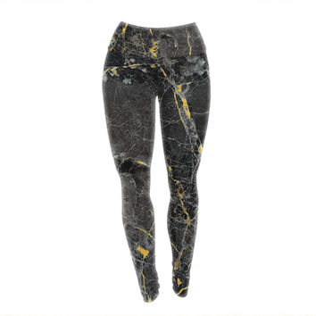"KESS Original ""Gold Fleck Black Marble"" Digital Abstract Yoga Leggings"