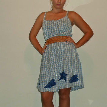 90s Plus Size Plaid Babydoll Country Rustic style button down Dress with lace up back