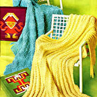 1970s Easy Vintage Knitting Patterns-Box & Cable Afghans-Giant Jumbo Knitting Needles to make for Home Decor Blanket Covers