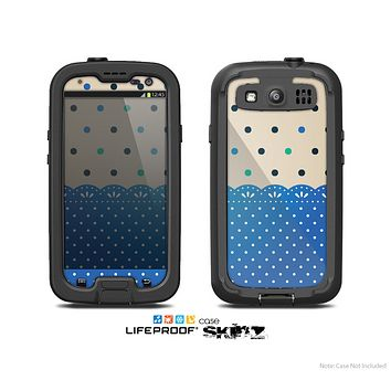 The Tan & Blue Polka Dotted Pattern Skin For The Samsung Galaxy S3 LifeProof Case