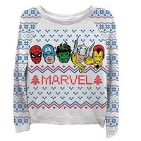 Round Neck Long Sleeve Cartoon Superhero Print Marvel Sweatshirt