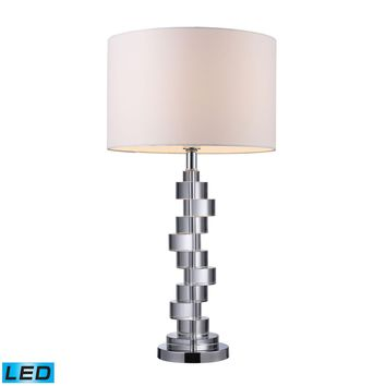 Armagh LED Table Lamp In Clear Crystal And Chrome With Pure White Faux Silk Shade Clear Crystal,Chrome