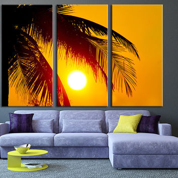 Beach Wall Art - Extra Large Wall Art Canvas Palm and Sunset - Triptych Wall Art Canvas Print