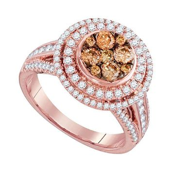 14kt Rose Gold Women's Round Brown Diamond Cluster Bridal Wedding Engagement Ring 1-1/2 Cttw - FREE Shipping (US/CAN)