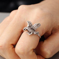 Adjustable Eagle ring,  Condor ring, Animal Rings, Mouse Ring Girls Retro Burnished Animal Ring Jewelry Adjustable Free Size Wrap Ring