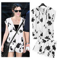 White Floral Print Cap Sleeve Hooded Zipper Top and Shorts