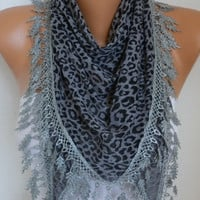 Gray Leopard Print Scarf  Animal Scarf Cowl Scarf Gift Ideas For Her Women's Fashion Accessories