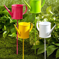Metal Watering Cans Garden Stakes Flower Beds Potted Plants Yard Decor Set of 4