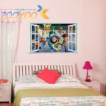Toy story cartoon window wall stickers for kids rooms ZooYoo1403 decorative adesivo de parede removable pvc wall decal 3.5 SM6
