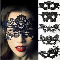 Halloween Masquerade Party Fancy Dress Sexy Women Lady Black Hollow Out Lace Mask Catwoman Batman Eye Mask Veil Gift = 1927845380