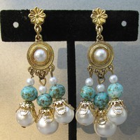 Long Dangle 1960's Vintage Faux Pearl & Turquoise Bead Gold Tone Earrings