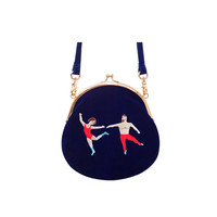 YiZi Mini Velvet Crossbody Bag | Blue Dancing