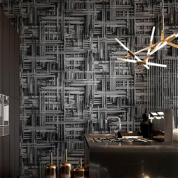 Black Silver,White Metallic Abstract 3d stereoscopic Wallpaper Modern Geometric Vinyl Wall Paper Living room Bedroom background