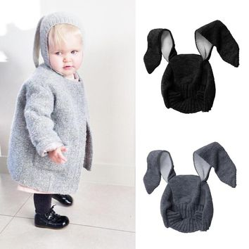 Rabbit Ears Type Baby Cap Men Women Fall Winter Children Wool Knit Hat Shape