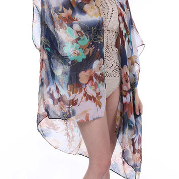 Sheer Woven Sleeved Floral Print Duster-Navy Blue