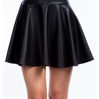 So Slick Faux Leather Skater Skirt - GoJane.com