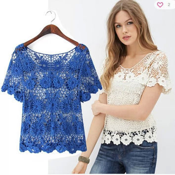Floral Crochet Lace Short-Sleeve Shirt