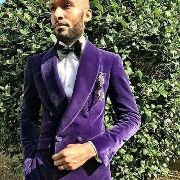 ICIKON3 tailor made purple velvet men suits slim fit groom blazer prom costume mariage hommeluxury brand 2 piece tuxedo jacket men