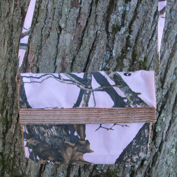 Pink Camo and Brown Corduroy Lined Diaper Clutch or Clutch Purse with Pockets and Shoulder Strap, Made from Mossy Oak Fabric