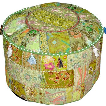 Pretty Indian Pouf in Lemon Green Stool Vintage Patchwork Living Room Ottoman Cover Hassock bench furniture pouffe footstool chair bean bag
