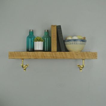 Reclaimed Wood Shelf w/ Brass Brackets